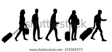 Silhouette of people with luggage walking in airport  - stock vector