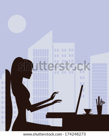 Silhouette of pretty woman working on laptop. Vector - stock vector