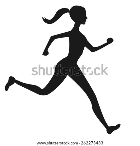 Silhouette of running girl. - stock vector