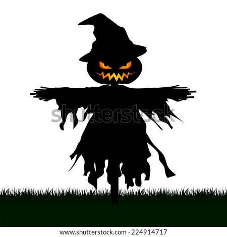 Silhouette of Scary Scarecrow in a Graveyard isolated on White Background.Halloween Concept. - stock vector