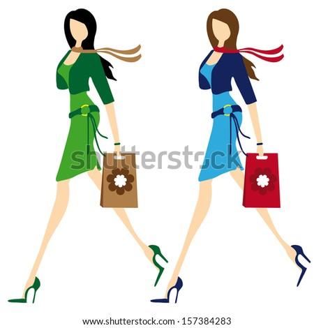 Silhouette of shopping girl - stock vector