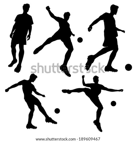 silhouette of Soccer football player man striking the ball isolated on white background - stock vector