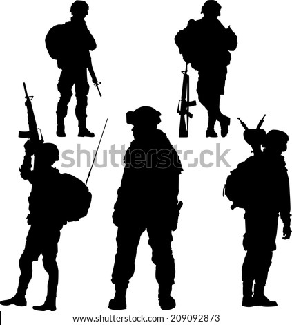 silhouette of soldier with rifle vector collection. - stock vector