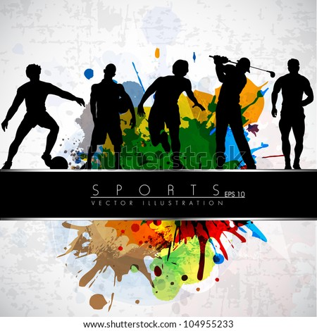 Silhouette of sports persons on colorful grungy background with text line. EPS 10. - stock vector