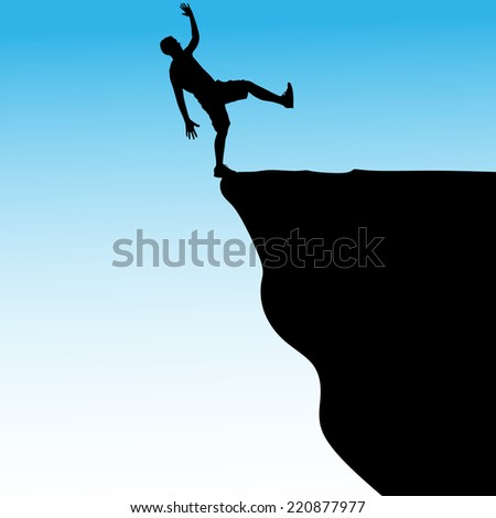Silhouette of standing man on cliff, vector  - stock vector