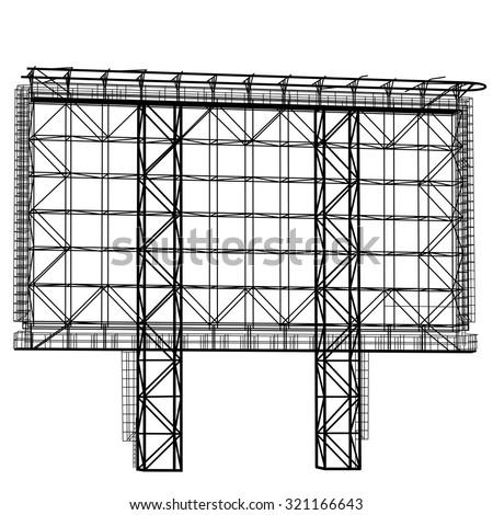 Silhouette of Steel structure billboard. Vector  illustration. - stock vector