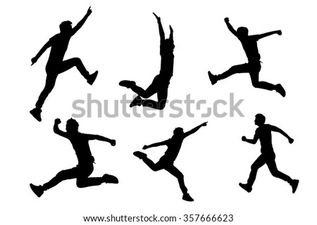 Silhouette of Success man jump and run with white background - stock vector