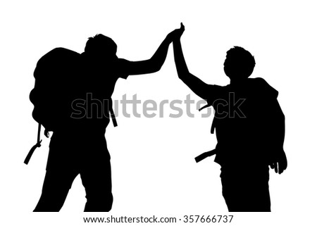Silhouette of Success men mountain climber give high five with white background - stock vector