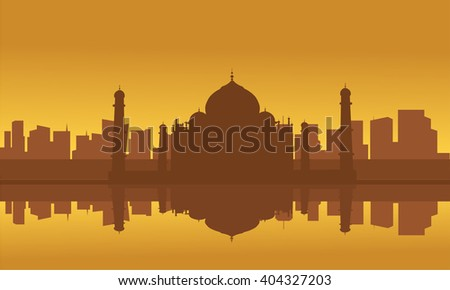 Silhouette of Taj Mahal and city with brown background - stock vector