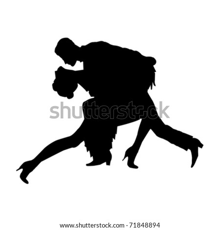 silhouette of tango dancers over white background - stock vector