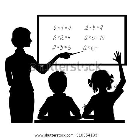 Silhouette of teacher at blackboard explaining mathematics to children, vector image - stock vector