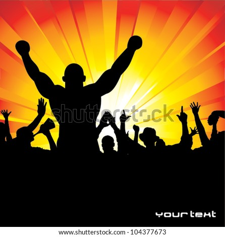 Silhouette of the champion - stock vector