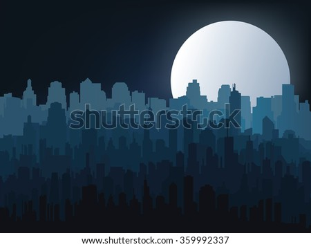 Silhouette of the city at night  - stock vector