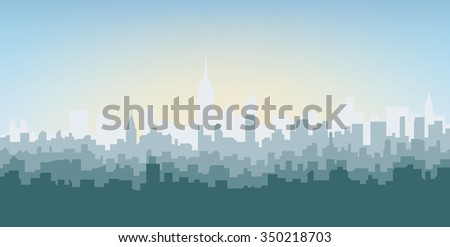 Silhouette of the city at sunrise. New York - stock vector