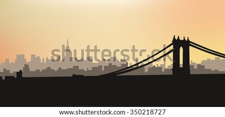 Silhouette of the city at sunset. New York - stock vector