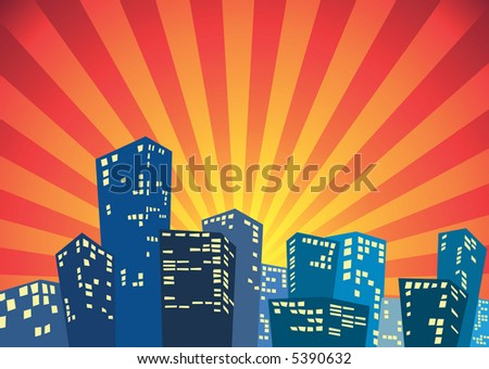 Silhouette of the city in the dawn - stock vector