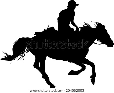 Silhouette of the equestrian of the jockey riding on a horse - stock vector