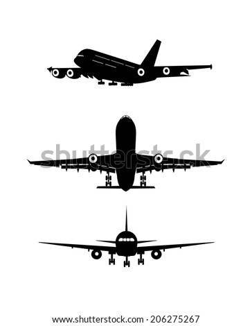 silhouette of the flying-up plane - stock vector