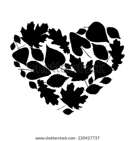 Silhouette of the heart of a various leaves - stock vector