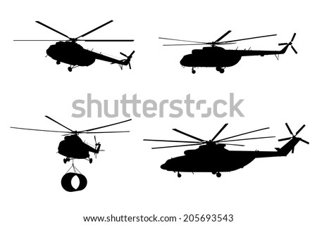 Silhouette of the helicopter. Vector illustration. - stock vector