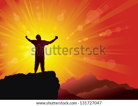 Silhouette of the person on the peak of mountain. Conceptual background. - stock vector