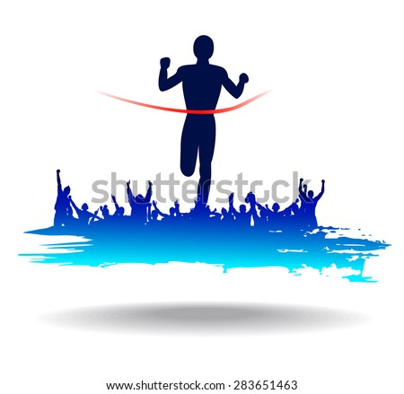 Silhouette of the runner on abstract background.  - stock vector