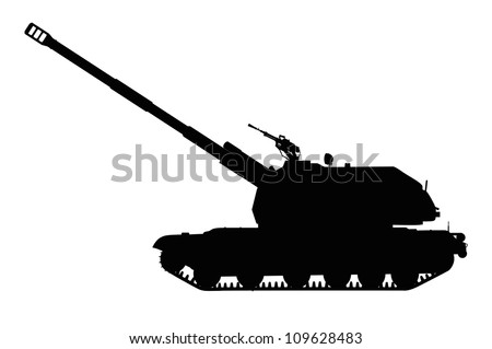 Silhouette of tracked self-propelled howitzer. Vector illustration - stock vector