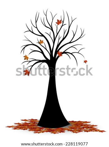 Silhouette of tree leaves falling in autumn - stock vector