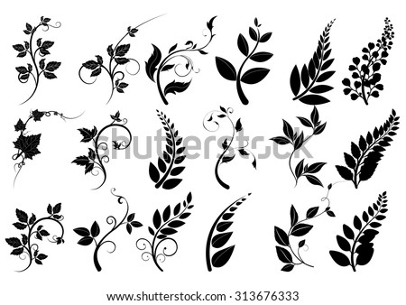 silhouette of trees,leaves  vector,Line borders,silhouettes of plants,collection of  leaves,Chalkboard Style Hand Drawn Laurels,Plants icons,Icons of leaves,Vector leaves icon set on white background - stock vector