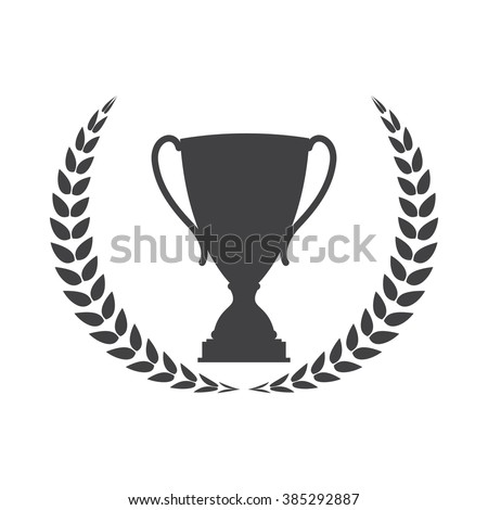 Silhouette of Trophy Cup Winner with a Laurel Wreath EPS10 - stock vector