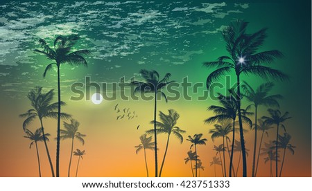 Silhouette of tropical palm trees  at sunset or moonlight, with cloudy sky . Highly detailed  and editable - stock vector