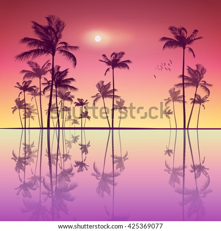Silhouette of tropical palm trees  at sunset or sunrise, with cloudy sky . Highly detailed  and editable - stock vector