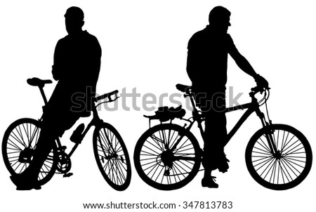 Silhouette of two cyclists - stock vector