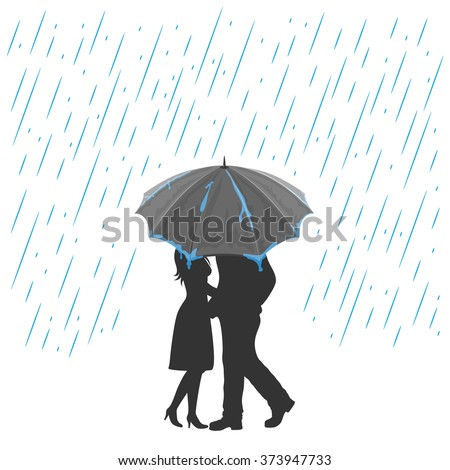 Silhouette of two enamored with umbrella under the rain, illustration. - stock vector