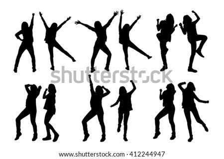 silhouette of two girl friends cheer,beauty,white background - stock vector