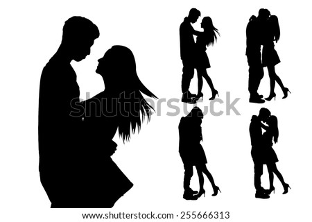 silhouette of two lovers. Isolated on white background - stock vector