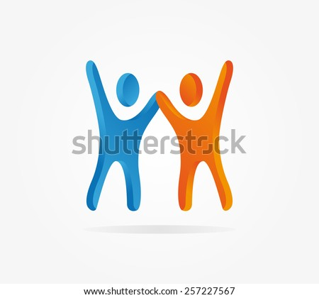 Silhouette of two people symbolizing success - stock vector