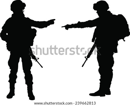 Silhouette of two soldier pointed the finger with rifle  - stock vector