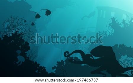 Underwater Silhouette Painting Silhouette of Underwater