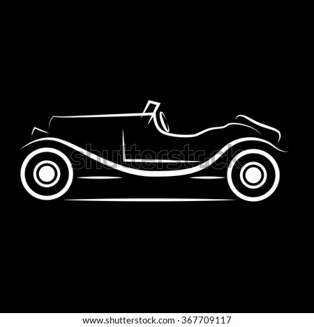 Silhouette of vintage car icon vector illustration  - stock vector