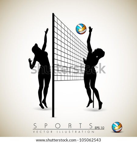 Silhouette of volley ball girls player playing volleyball on abstract background.EPS 10. - stock vector