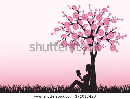 silhouette of woman reading a book and sitting under a tree - stock vector