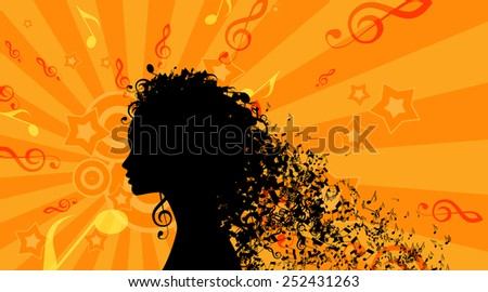 Silhouette of Womans head with Music Hair Background. Vector Illustration - stock vector