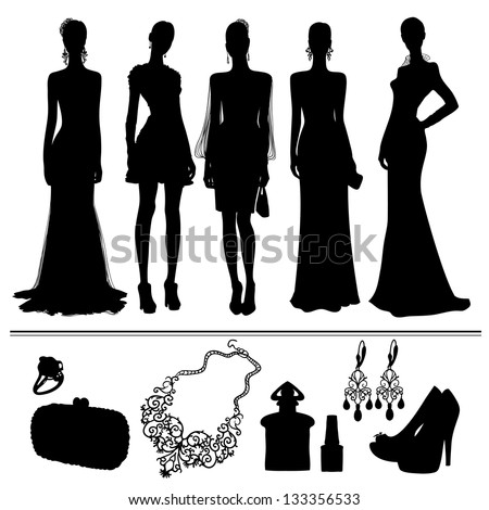 silhouette of women and accessories - stock vector