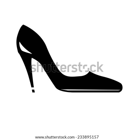 silhouette of women's shoes. vector icons on white background - stock vector