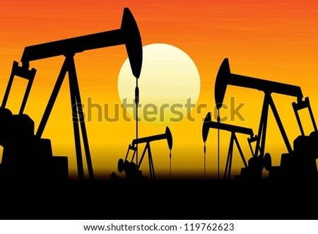 silhouette of working oil pumps on sunset background - stock vector