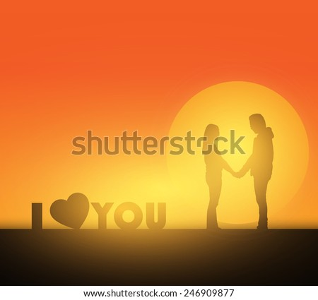 Silhouette of Young couple in love  - stock vector