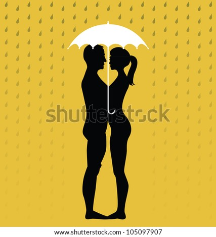 silhouette of young couple under an umbrella, standing in the rain - illustration - stock vector