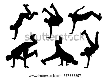 Silhouette of young man dance Hip-hop with white background - stock vector