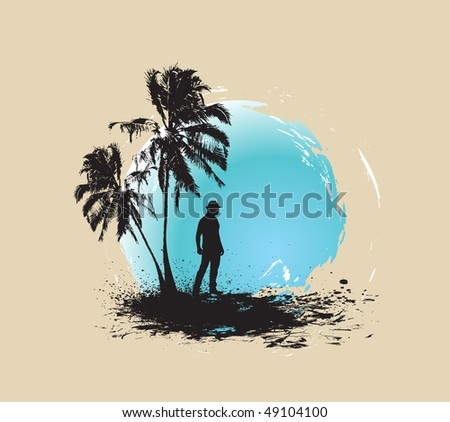 silhouette of young man having fun summer holiday background, vector illustration, No mesh in this Vector - stock vector